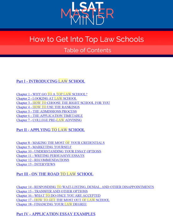 how to get into top law schools table of contents