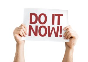 Do it Now! card isolated on white background